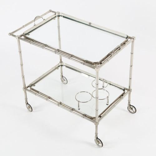 Brass 1960S SWEDISH POLISHED-NICKEL, FAUX-BAMBOO BAR CART ON CASTERS For Sale - Image 7 of 10
