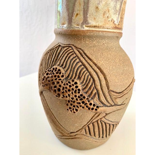 Brown Vintage Handmade Ceramic Vase For Sale - Image 8 of 13