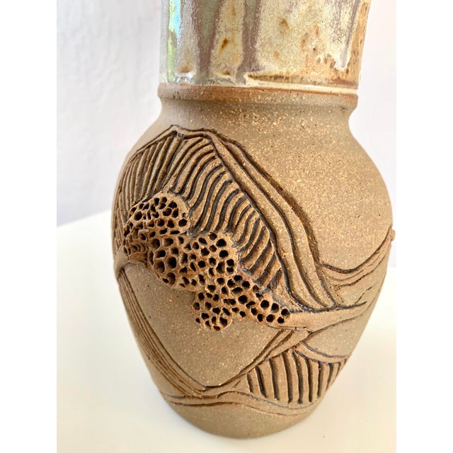 "Gray Vintage Signed ""Moni"" Ceramic Vase, Mid Century Era For Sale - Image 8 of 13"