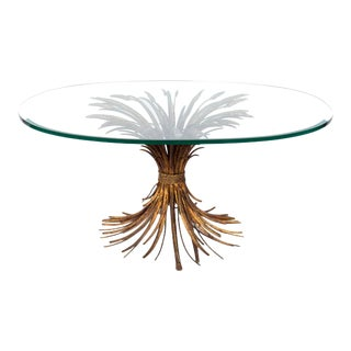 Gilt Sheaf of Wheat Cocktail Table With Oval Glass Top For Sale