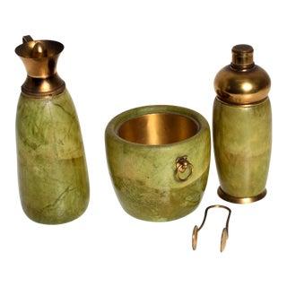 Mid Century Modern Italian Bar Set Aldo Tura Macacbo Green Goatskin Brass For Sale