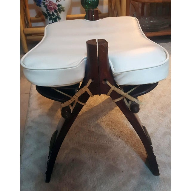 Egyptian Wooden Brass Decorated Camel Stool With White Naugahyde Cushion For Sale - Image 4 of 11