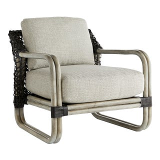 Arteriors Rattan & Leather Lounge Chair For Sale