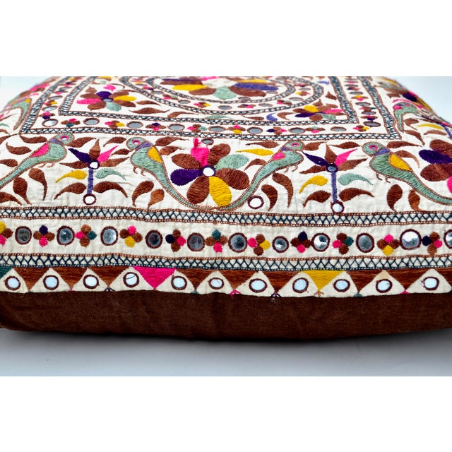 Anglo-Indian Large Vintage Indian Embroidered Textile Pillow For Sale - Image 3 of 4