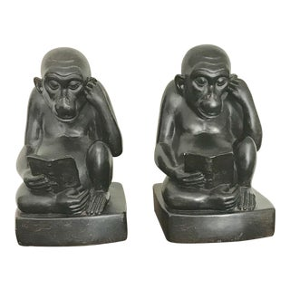 Figurative Black Reading Monkeys Wildlife Bookends - a Pair For Sale