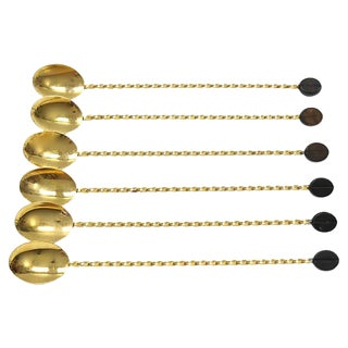 Mid-Century Gold-Plated Iced Coffee Spoons - Set of 6