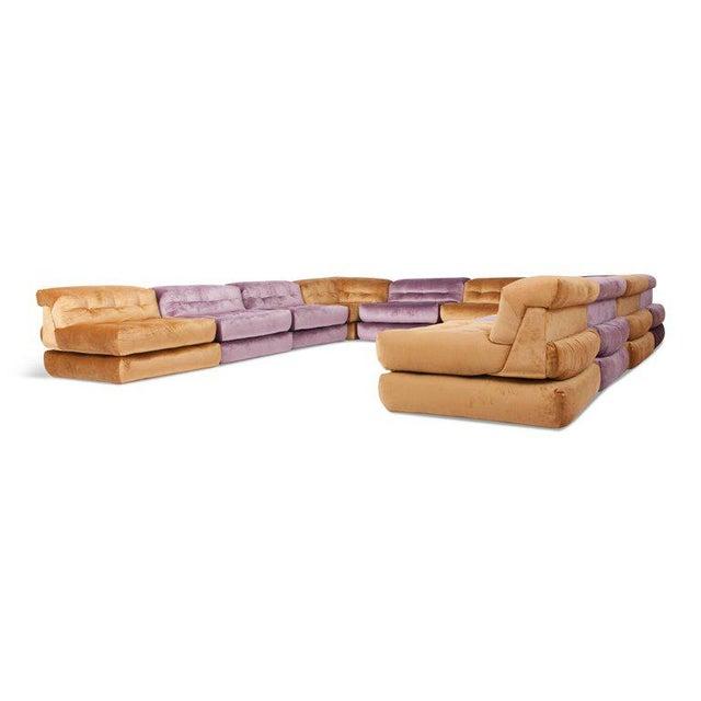 Mid-Century Modern Mah Jong First Edition Modular Sofa in Gold Velvet by Roche Bobois For Sale - Image 3 of 13