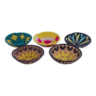 African Handwoven Baskets - Set of 5 For Sale