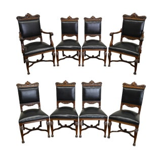 Antique Solid Walnut Carved Renaissance Style Dining Chairs - Set of 8