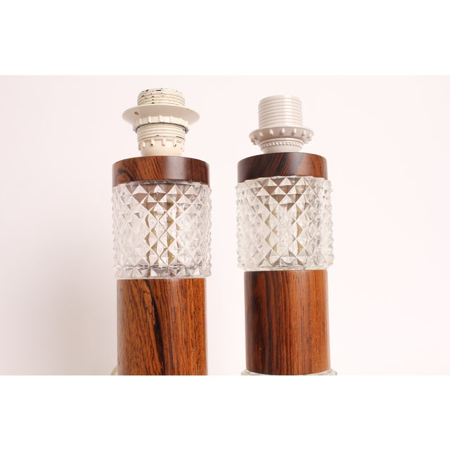 Mid-Century Rosewood Cut Glass Table Lamp - A Pair - Image 3 of 4