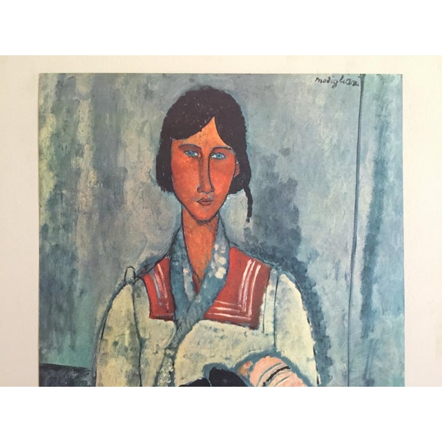 """This Amadeo Modigliani rare vintage Mid Century large lithograph print """" Gypsy Woman with a Baby """" 1919, is a very special..."""