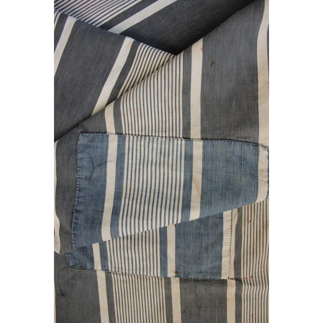 A lovely piece of antique / vintage French ticking fabric dating c1890. WONDERFUL RUSTIC , patched, seamed, stained and...
