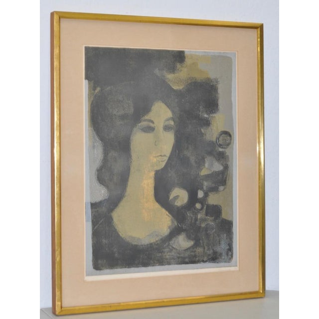 """Andre Mineaux """"Tete de Femme"""" Original Lithograph c.1960s From a limited edition of only 90. This lithograph is pencil..."""
