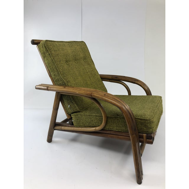 Mid Century Boho Chic Bamboo Lounge Chair With Green Upholstery For Sale - Image 13 of 13