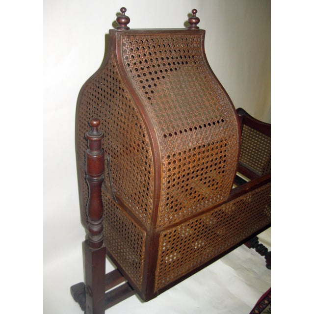Wood 19th Century Gothic Revival Walnut Swinging Cradle For Sale - Image 7 of 13