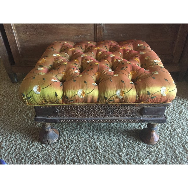 Orange Embroidered Handcarved Ottoman Stool - Image 11 of 11