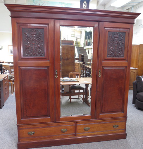 English Victorian Mirror Door Armoire   Image 2 Of 10