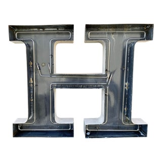 Jumbo Mid Century Channel Letter H Architectural Salvage Wall Sign For Sale