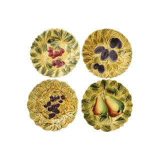 Vintage French Majolica Fruit Plates - Set of 4 For Sale
