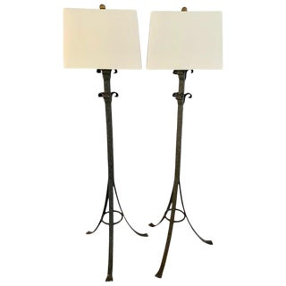 Pair Wrought Iron Floor Lamps For Sale