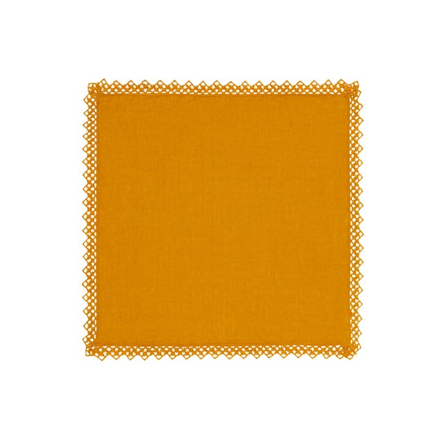 Not Yet Made - Made To Order Once Milano Linen Napkin With Macramé in Mustard For Sale - Image 5 of 5