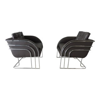 1970's Mid-Century Modern Milo Baughman Chrome and Leather Club Chairs - a Pair For Sale