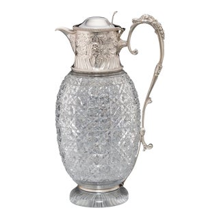 Final Markdown > Silver & Cut-Glass Claret Jug For Sale