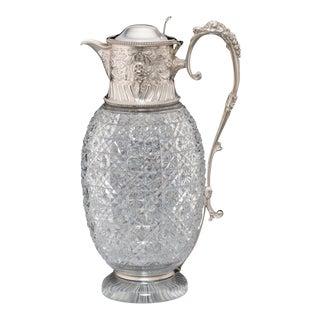 > Silver & Cut-Glass Claret Jug For Sale