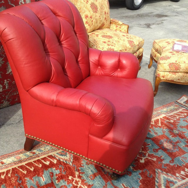 21st Century Traditional Red Leather Chair For Sale - Image 4 of 5