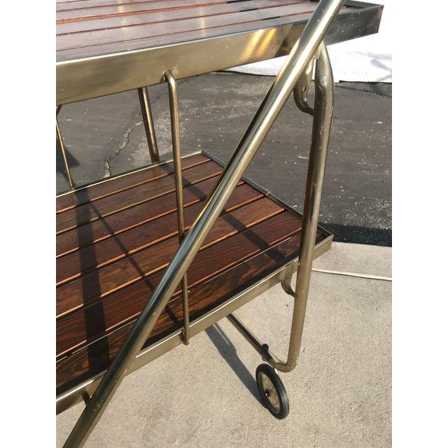Mid-Century Wood Slat & Metal Rolling Bar Cart - Image 4 of 10