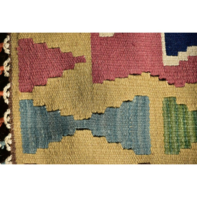 Yellow Nomadic Tribal Design Anatolian Oushak Traditional Wool Handmade Turkish Kilim Rug For Sale - Image 8 of 10