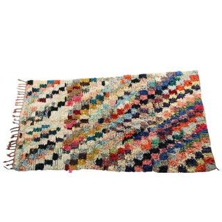 """Vintage Boucherouite Moroccan Carpet -8'3"""" X 4'4"""""""