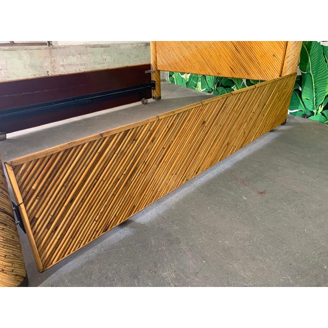 Split Pencil Reed Rattan Queen Size Poster Bed For Sale - Image 4 of 8