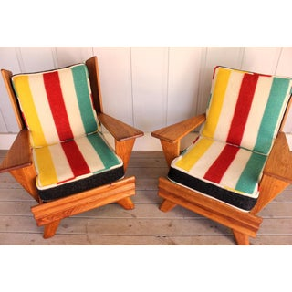 1960s Mid Century Modern Ranch Oak His and Hers Arm Chairs - a Pair Preview