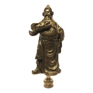 Large Chinoiserie Brass Immortal Figure Lamp Finial