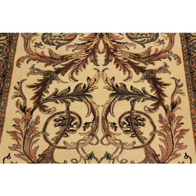 1980s Art Nouveau Bhati Pak-Persian Zelda Ivory/Pink Wool Rug - 4'1 X 6'7 For Sale - Image 5 of 8