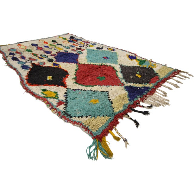 74824 Tribal Style Vintage Moroccan Azilal Rug, Colorful Moroccan Berber Rug, 03'04 x 05'10. Add a tribal touch to your...