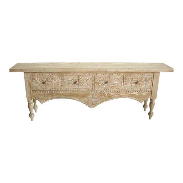 Custom Ceruse Oak Wood Carved Console With Turned Legs and Drawers For Sale