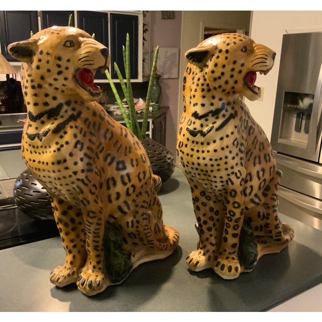 1950s Vintage Life Size Chalkware Leopards - A Pair For Sale - Image 9 of 9