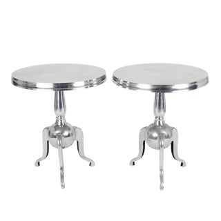 Pottery Barn Silver Aluminum Pedestal Accent Tables - A Pair