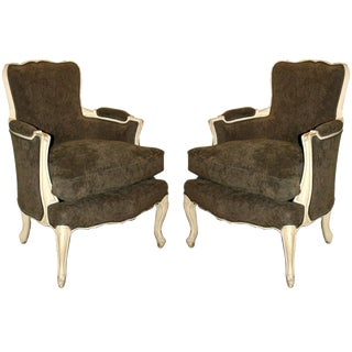 Pair of French Louis XV Style Bergere Chairs For Sale