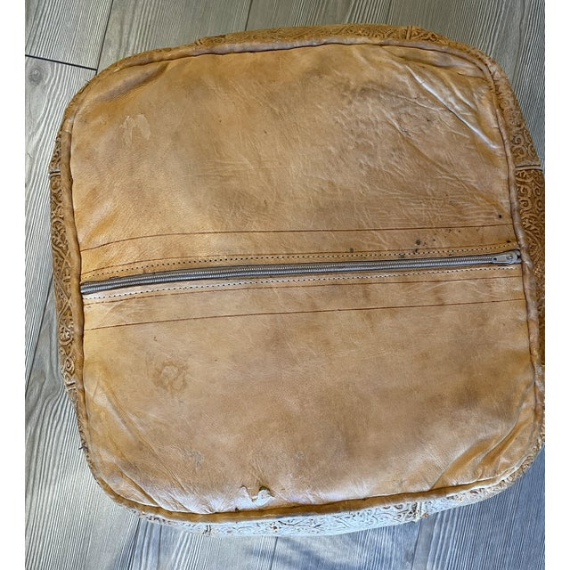 Mid 20th Century Ornate Turkish Imprinted Leather Poof For Sale - Image 5 of 7