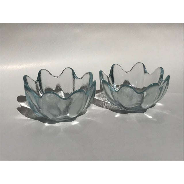 Blenko Crystal Clear American Art Glass Lotus Bowls - A Pair For Sale In Dallas - Image 6 of 6