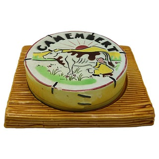 Vintage French Majolica Covered Cheese Dish Preview