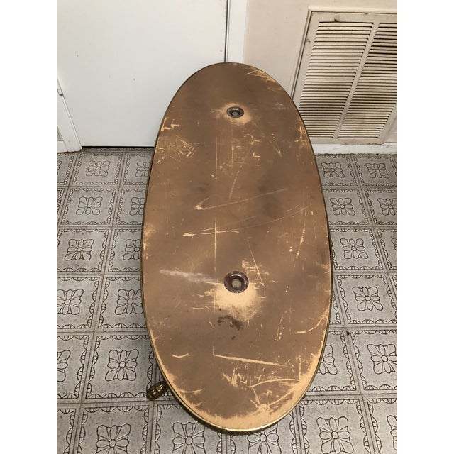 Vintage French Marble & Bronze/Brass/Gilt Metal Style Oval Onyx Coffee Table/Mid-Century Marble and Bronze Coffee Table For Sale In Houston - Image 6 of 13