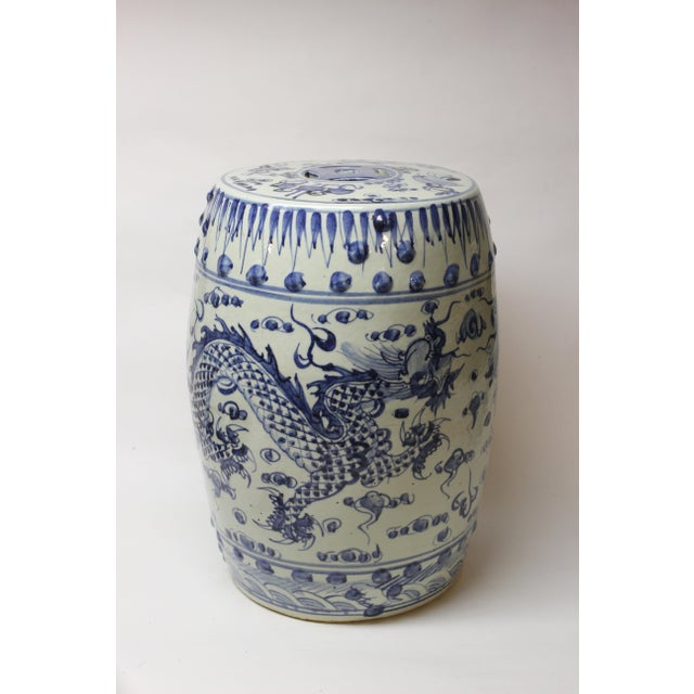 Chinese Blue and White Ceramic Garden Stool For Sale - Image 9 of 10