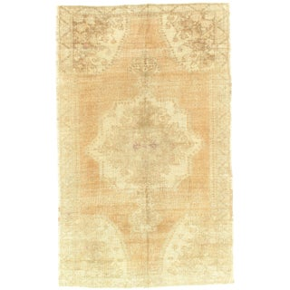 """Late 19th Century Antique Turkish Oushak Lambswool Rug - 4′8"""" × 7′6″ For Sale"""