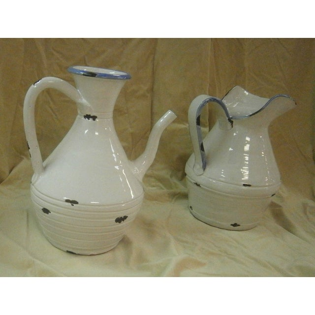 Italian White Pottery Pitchers - A Pair - Image 2 of 5