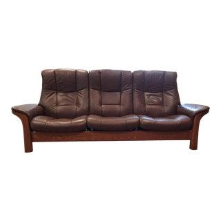1990s Ekornes Stressless Buckingham High Back Sofa For Sale