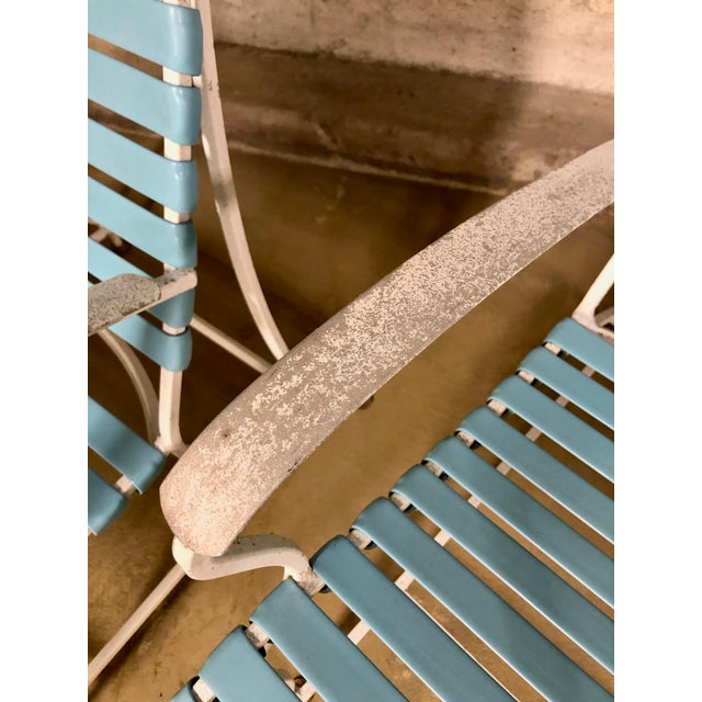 Baby Blue Pair of Mid Century Modern High Back Patio Lounge Chairs For Sale - Image 8 of 13